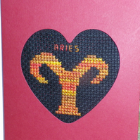Handmade Charity Cross Stitch Card - Zodiac Sign - Aries