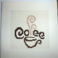 Handmade Charity Cross Stitch Card - Cup of Coffee