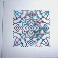 Handmade Charity Cross Stitch Card - Pretty Pattern