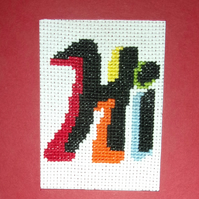 Handmade Charity Cross Stitch Card - Hi