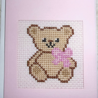 Handmade Charity Cross Stitch Card - Teddy with a Pink Bow
