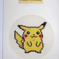 Handmade Charity Cross Stitch Card - Pikachu from Pokemon