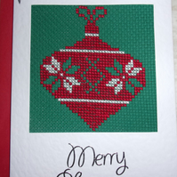 Cross Stitch Christmas Card - Bauble
