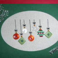 Cross Stitch Christmas Card - Baubles