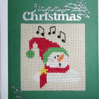 Cross Stitch Christmas Card - Singing Snowman