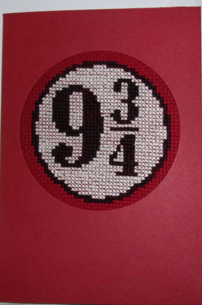 Handmade Charity Cross Stitch Card - Harry Potter Platform Number