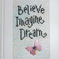 Handmade Charity Cross Stitch Card - Believe Imagine Dream