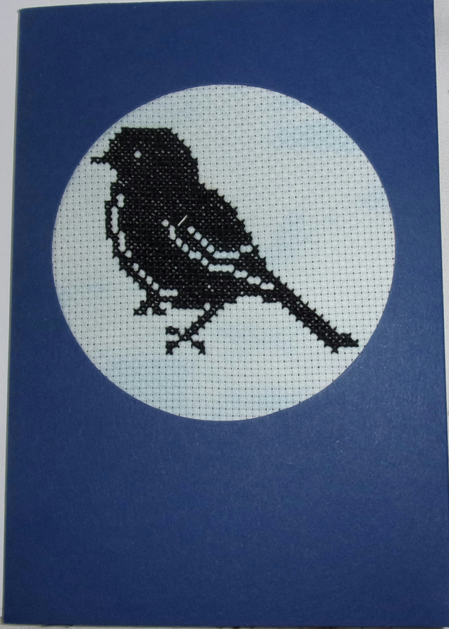 Handmade Charity Cross Stitch Card - Little Bird Silhouette