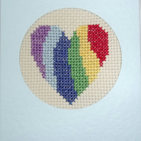 Handmade Charity Cross Stitch Card - LGBT Rainbow Heart