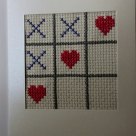 Handmade Charity Cross Stitch Card - Love Hearts and X's