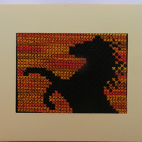 Handmade Charity Cross Stitch Card - Horse Silhouette