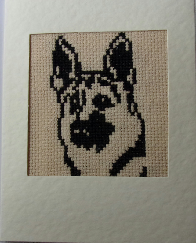Handmade Charity Cross Stitch Card - Handsome German Shepherd