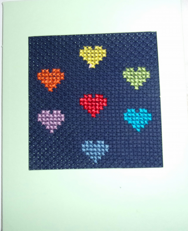 Handmade Charity Cross Stitch Card - Multi-coloured Love Hearts