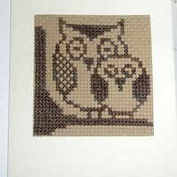 Handmade Charity Cross Stitch Card - Mum and Baby Owl