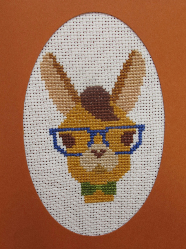Handmade Cross Stitch Charity Card - Geeky Llama