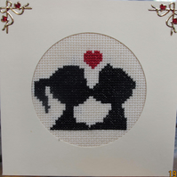 Handmade Cross Stitch Charity Card - Kissing Couple Silhouette