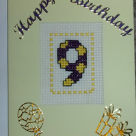 Handmade Cross Stitch Charity Card - Happy 9th Birthday