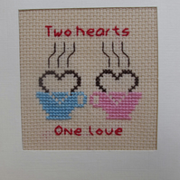 Handmade Charity Cross Stitch Card - Love Tea Cups