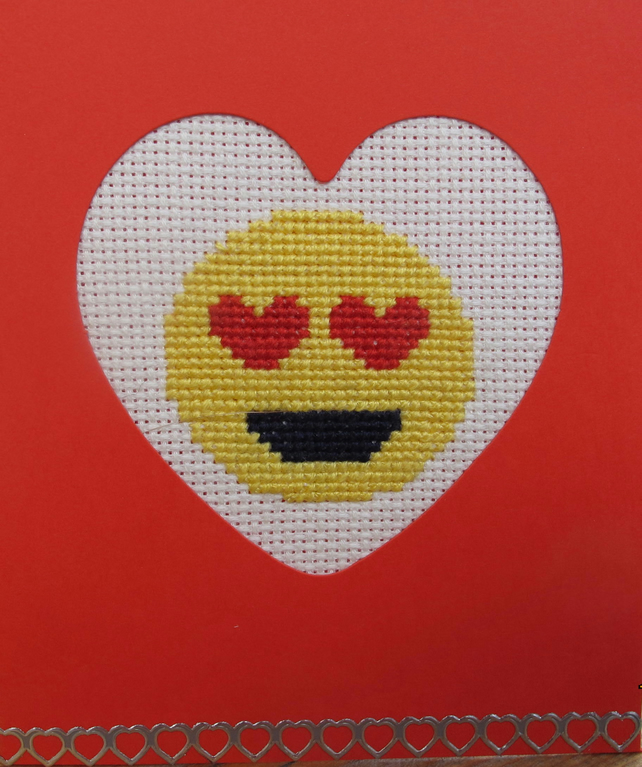Handmade Cross Stitch Charity Card - Love Eyes Emoji
