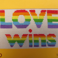 Handmade Cross Stitch Charity Card - Rainbow Love (LGBT)