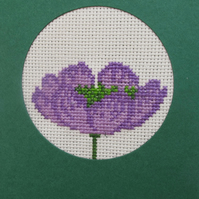Handmade Cross Stitch Charity Card - Pretty Purple Poppy