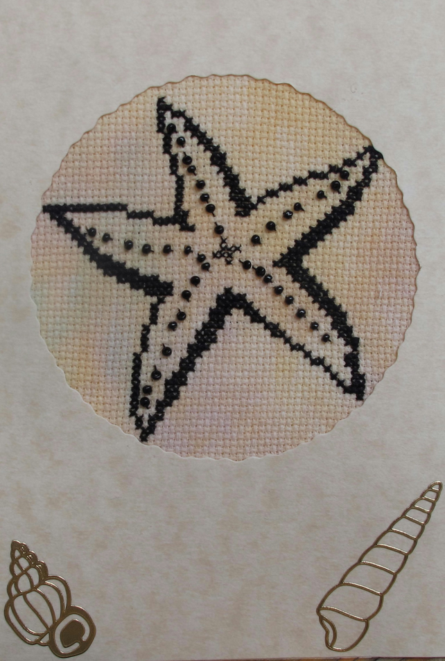 Handmade Cross Stitch Charity Card - Starfish with Beads