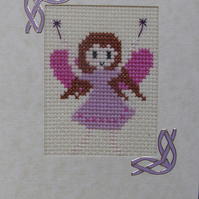 Handmade Cross Stitch Charity Card - Sweet Little Fairy