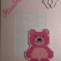 Handmade Charity Cross Stitch Card - It's A Girl