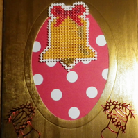 Handmade Charity Cross Stitch Card - Christmas Bell