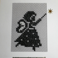 Handmade Cross Stitch Charity Card - Christmas Angel Fairy