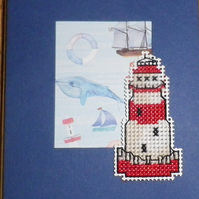 Handmade Charity Cross Stitch Card - Lighthouse