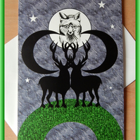 Stags, Fox and Moon on grass Blank Greeting Card