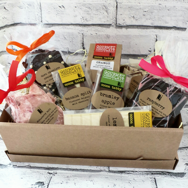 Fruit Flavours Gourmet handmade chocolate gift hamper.