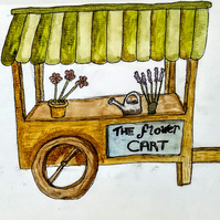 The flower cart watercolour picture