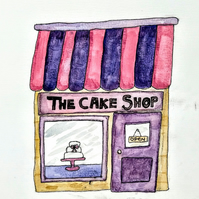 The cake shop watercolour picture