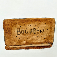 The Bourbon biscuit watercolour painting