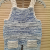 Baby Boy Blue and White Sublte Striped Dungarees