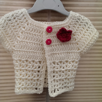 Cream Baby Girl Short Sleeved Summer Cardigan Jacket