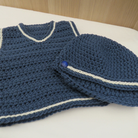 Baby boy crocheted vest and hat set