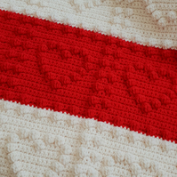 Red and cream bobble heart crocheted baby blanket