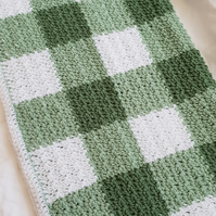 Green gingham crocheted baby blanket