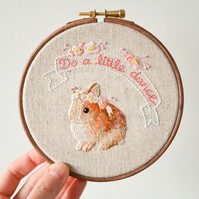 Do a Little Dance - Bunny Rabbit & Flowers Handmade Embroidery Hoop Wall Art 5""