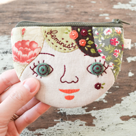 Feminist Personalised Coin Purse, Card Wallet OOAK Gift for Her - Made to Order