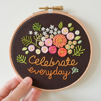 Celebrate Everyday Flowers & Leaves Handmade Embroidery Hoop Wall Art 5""