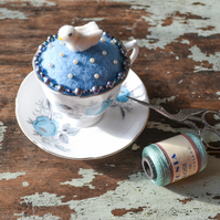Felted Dove Pincushion in Teacup - Upcycled Pin Cushion for Crafter