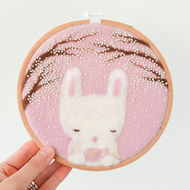 "Spring Bunny Felted Embroidery Hoop Art 6"" Wall Decor - Gift for Home"