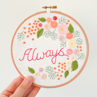 Always Flowers & Leaves Handmade Embroidery Hoop Wall Art 6""