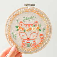 Ginger Cat Personalised Embroidery Hoop Art, Gift for Home, Nursery Decor