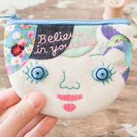 Believe in Yourself Personalised Coin Purse, Card Wallet - OOAK Gift for Her