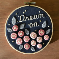 50% SALE Dream On - Hand-stitched Bouquet of Flowers Embroidery Hoop Wall Art